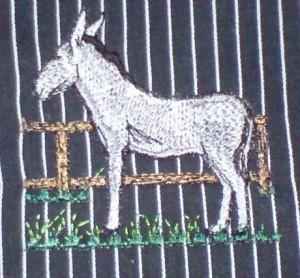 Bergheimer Esel als Stickbild
