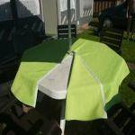 Sonderanfertigung Gartentischdecke - teilbar durch Klettband / Klettverschluss