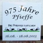 """Aluminium Werbeschild 975 Jahre Pfieffe """"Die Pfieffer Latschen"""""""