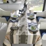 Hochwertige Tischdecke grau-schwarzem Streifenmuster